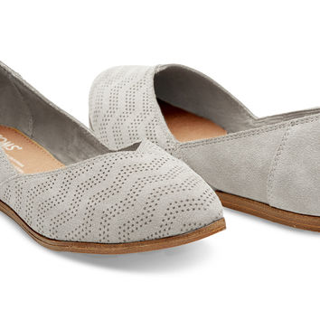 DRIZZLE GREY CHEVRON EMBOSSED SUEDE WOMEN'S JUTTI FLATS