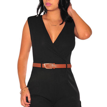 Black Buckle Up Stylish Summer Romper