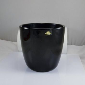 Viking Black Glass Ice Bucket Vase - Original Foil Sticker - Mid Century Modern - 1970s