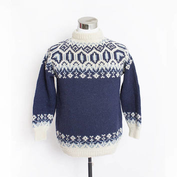 Vintage 1980s Sweater - Irish Wool Blue Ski Pullover 80s - Medium