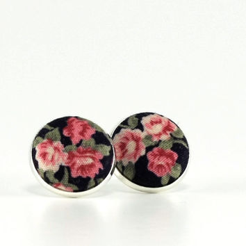 Flower Stud Earrings - Night Roses - Red Black Green Fabric Covered Buttons Earrings - Romantic Silver Toned Jewelry