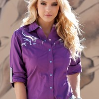 Western Shirts : Purple Snap Shirt - Cruel Girl