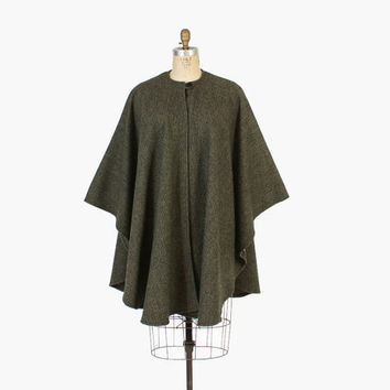Vintage 60s CAPE / 1960s Harris Tweed Loen Gren Wool Cape Coat Jacket