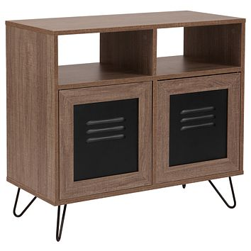 """Woodridge Collection 29.75""""""""W Wood Grain Finish Console and Storage Cabinet with Metal Doors"""
