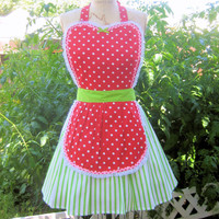 Retro apron  Strawberry apron red  polka by loverdoversclothing