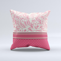Hot Pink Swirly Pattern with Polka Dots Ink-Fuzed Decorative Throw Pillow