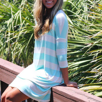 The Way It Goes Mint Striped Quarter Sleeve Dress