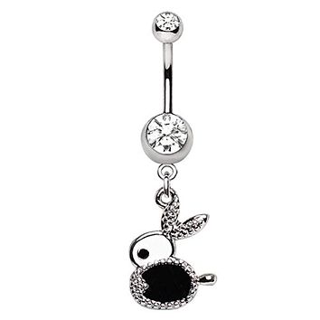 WILDKLASS 316L Stainless Steel Jeweled Bunny Dangle Navel Ring