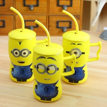 Creative Minions Espresso Cups Cute Ceramic Bone China Coffee Cup with Straw Milk Tea Mug with Lid and Elegant Coffee Mugs Gift