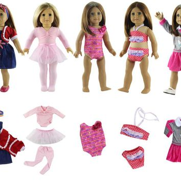 "New Style 5 Set Doll Clothes Swinming Suit Ballet Dress Fashion Casual Wear for 18"" American Girl Doll"