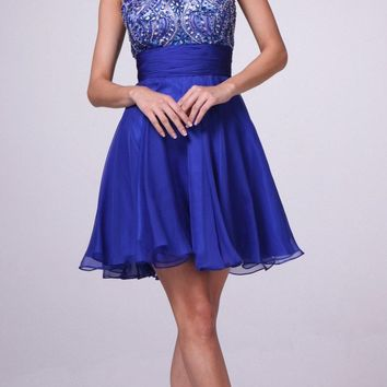 Sleeveless Beaded Bodice Homecoming Short Dress Royal Blue