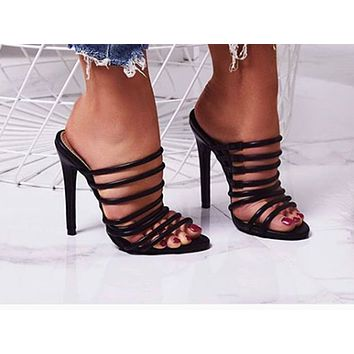 Fashionable women's open-toed hollow high heel single shoes