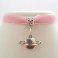"Velvet choker necklace with Saturn Planet pendant and a width of 3/8"" Pink Ribbon Choker Necklace(pick your neck size)"