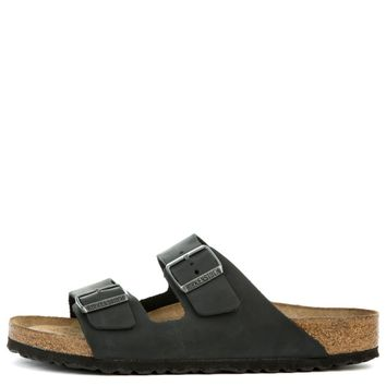 Birkenstock Unisex: Arizona Soft Footbed Oiled Leather Black Sandals - Beauty Ticks