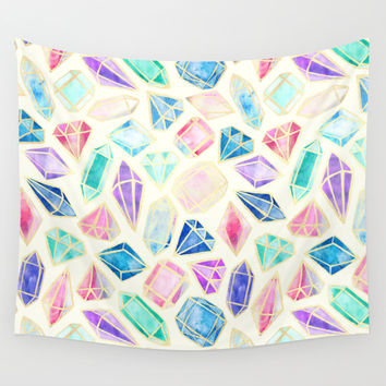 Watercolor Gems Intense Wall Tapestry by Tangerine-Tane | Society6