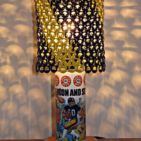 "Vintage Iron City Beer Pittsburgh Men of Iron City Pirates, Steelers, Penguins Beer Can Lamp With Pull Tab Lampshade - ""Black & Yellow"""