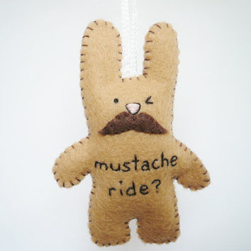 Mustache Bunny Plush handmade ornament by TheOffbeatBear on Etsy