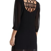 Strappy Back Chiffon Shift Dress by Charlotte Russe - Black