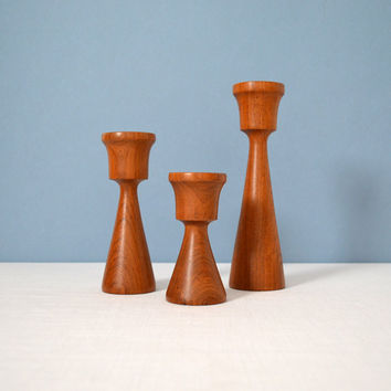 Vintage Danish Modern Turned Wood Candle Holders