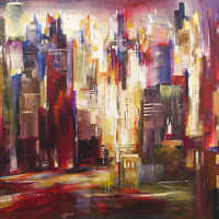 """Large Wall Art Giclee Print -""""Chicago River Skyline"""""""