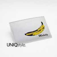 Andy Warhol banana - Pop art - custom made business card holder, Graduation Gift, pu leather wallet, slim wallet - I52