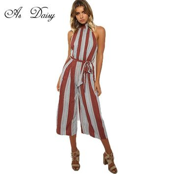As Daisy Elegant Striped Women Jumpsuit Sexy Rompers Playsuit Overalls Women Summer Ankle-length Pants Combinaison Femme JP1743