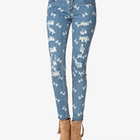 Bow Print Destroyed Skinny Jeans   FOREVER 21 - 2042860588