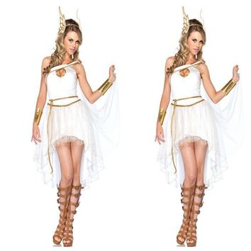 Hot Selling Adult Halloween Women Costume Greek Goddess Costume Cute Roman Princess Costume 4PCS Dress+Headwear+Handwear+Belt