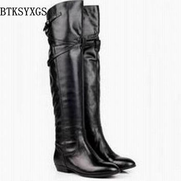 BTKSYXGS 2017 Fashion women's over the knee high flat heel boots 100% genuine leather women snow boots winter shoes High quality