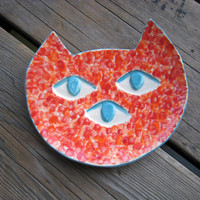Ceramic Cat Plate - Three Eyed Cat - Colorful Cat Art - Ceramics and Pottery - Cat Shaped Dish - Alien Cat - Pottery Plate