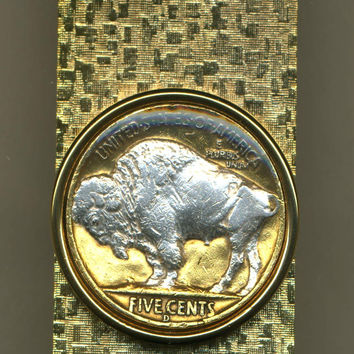 2-Toned Silver on Gold White Buffalo nickel coin (Hinge) Money clip