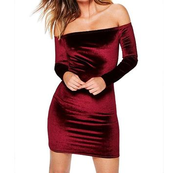 Sexy Off Shoulder Wine Red Sheath Velvet Dress Women Winter Party Long Sleeve 2018 Elegant Pencil Bodycon Ladies Dress Vestidos
