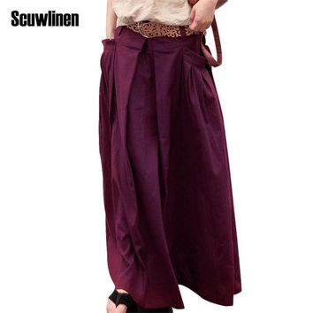 DCCKF4S SCUWLINEN 2017 Women Skirts Saias Femininas Plus Size Linen Skirts Pleated Pockets Casual Maxi Skirt Long Skirts Women  S07