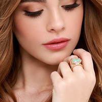 Every Waking Moment Gold and Iridescent Ring