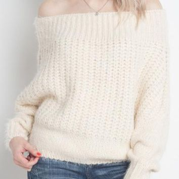 So Cozy Off-The-Shoulder Sweater - Ivory