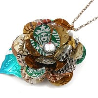 Starbucks Rose and Leaf Necklace TRENDY 30 inch by jillmccp