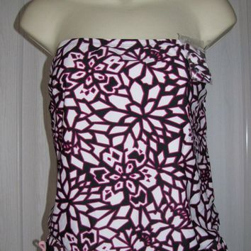 NEW XHILARATION ISLAND PINK BLACK TUBE TANKINI BIKINI SWIMSUIT SWIMWEAR 2PC M 12