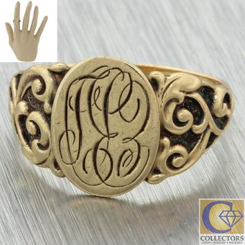 1880s Antique Victorian 14k Yellow Gold 13x16mm Monogram Engraved Signet Ring