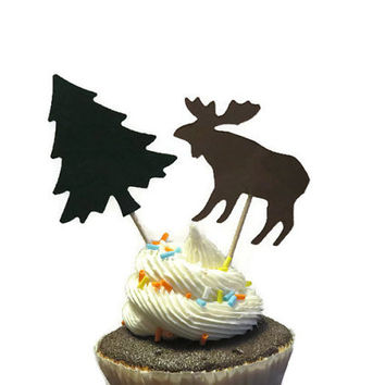 Moose cupcake toppers, hiking party supplies, woodland, pine trees, baby shower, bridal, wedding, food picks, handmade, 12 pcs