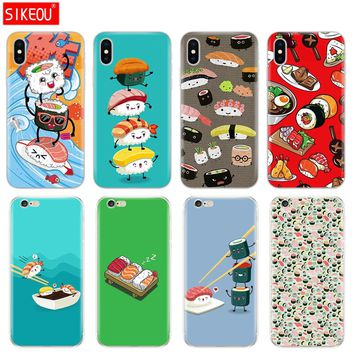 Silicone Cover Phone Case For Iphone 6 X 8 7 6s 5 5s SE Plus 10 Case Japanese cuisine Sushi food