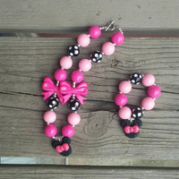 Pink Minnie Mouse Necklace Set - Minnie Necklace - Birthday Necklace - Minnie Mouse Outfit - Birthday Minnie - Disney on Ice - Disneyworld