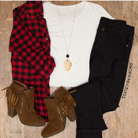 Rustic Plaid Button-Up Top