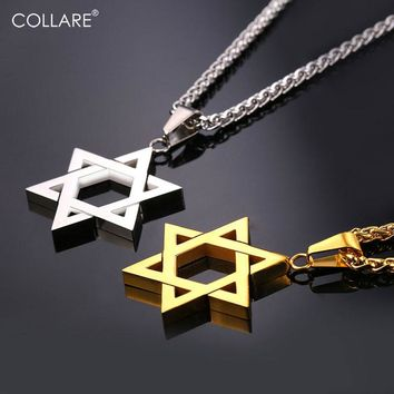 Collare Israel Chain With A Star Of David Pendant Necklace Women Stainless Steel Men Chain Magen David Star Jewish Jewelry P1813