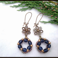 Christmas Victorian Blue Glass Wreath Women's Earrings | Antique Brass Flower Holiday Wreath Women's Earrings | Lady Green Eyes Jewelry