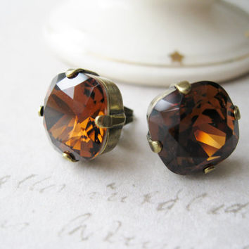 Large Brown Topaz Stud Earrings, Smoky Topaz Post Earrings, Fall / Autumn Jewellery, Swarovski Elements, Antique Brass.