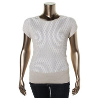 Joseph A. Womens Metallic Ribbed Pullover Sweater