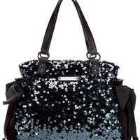 100% AUTH JUICY COUTURE STAR SHINE BLACK SEQUIN DAYDREAMER TOTE BAG NEW