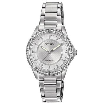 Citizen DRIVE POV Ladies Crystal Watch - Stainless Steel - Bracelet - Date
