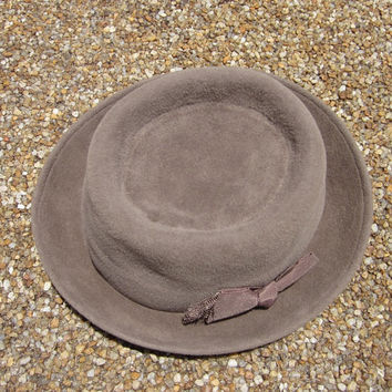 Vintage Peruvian Connection Brown Taupe Felt Hat