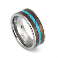 Turquoise and Black wood inlay tungsten ring